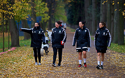 SAINT PETERSBURG, RUSSIA - Tuesday, October 24, 2017: Wales' Natasha Harding, Helen Ward and Kayleigh Green during a pre-match walk ahead of the FIFA Women's World Cup 2019 Qualifying Group 1 match between Russia and Wales. (Pic by David Rawcliffe/Propaganda)