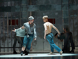 Midnight Express,The Ballet by Peter Schauffus, The London Coliseum , London, Great Britain, 9th April, 2013. Photo by Elliott Franks / i-Images. ..Peter Schaufuss - choreographer..Benjamin Whitson - director and jailer....Johan Christensen as Billy Hayes .Emin (informer, end of second act fights with Billy) - Juan Rodrigues
