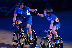 February 8, 2019 - Melbourne, VIC, U.S. - MELBOURNE, VIC - FEBRUARY 08: Annette Edmondson and Alex Manly of Australia react as they win the womens Madison Race at The Six Day Cycling Series on February 08, 2019 at Melbourne Arena, VIC. (Photo by Speed Media/Icon Sportswire) (Credit Image: © Speed Media/Icon SMI via ZUMA Press)