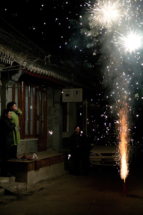 Beijingers are lighting fireworks during New Year 2010, 14 february midnight.