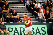 18.09.2015. Odense, Denmark. <br /> Rafael Nadal of Spain returns a shot during his Davis Cup match against Mikael  Torpegaard of Denmark.<br /> Photo: © Ricardo Ramirez.