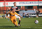 Motherwell's Nicky Law clears from Dundee's Jim McAlister - Dundee v Motherwell, Clydesdale Bank Scottish Premier League at Dens Park.. - © David Young - 5 Foundry Place - Monifieth - DD5 4BB - Telephone 07765 252616 - email: davidyoungphoto@gmail.com - web: www.davidyoungphoto.co.uk