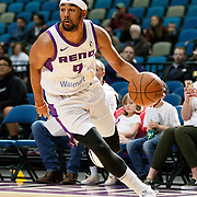 Reno Bighorns Guard MATT JONES (9) drives during the NBA G-League Basketball game between the Reno Bighorns and the Raptors 905 at the Reno Events Center in Reno, Nevada.