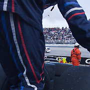 Redbull racing team  tire carriers moving tires  during the Sprint Cup Series AAA 400 Sunday, Oct. 02, 2011 at Dover International Speedway in Dover Delaware.