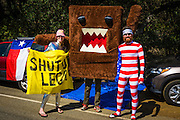 Costumed spectators at the Amgen Tour of California, Santa Monica Mountains, California USA