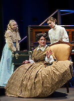 "Sophia Joyal as Amy March and Emily Hanf as Hannah with Zoe Cygan as Mrs. March during Winnipesaukee Playhouse's dress rehearsal for ""Little Women"" Tuesday evening.  (Karen Bobotas/for the Laconia Daily Sun)"