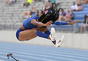 Jul 28, 2019; Des Moines, IA, USA; Erica Bougard jumps a wind-aided 21-5 1/4 (6.53m) in the heptathlon long jump during the USATF Championships at Drake Stadium.
