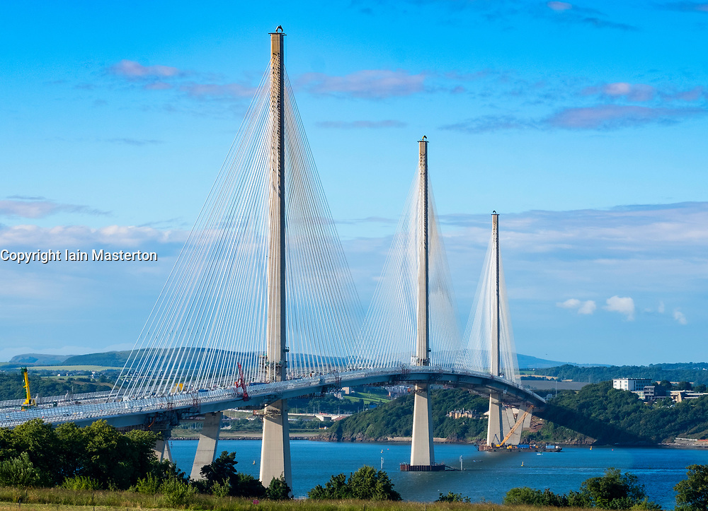 View of new Queensferry Crossing bridge at South Queensferry in Scotland , United Kingdom