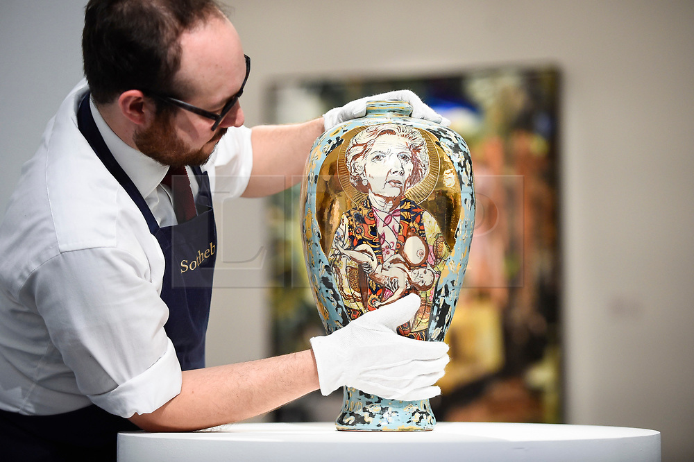 © Licensed to London News Pictures. 07/02/2020. LONDON, UK. A technician presents ''Love Letters'' by Grayson Perry, (Est. £80,000 - 120,000). Preview of Sotheby's Contemporary Art Sale in their New Bond Street galleries.  Works by artists including Francis Bacon, Yves Klein, Jean-Michel Basquiat and David Hockney will be offered for auction on 11 February 2020.  Photo credit: Stephen Chung/LNP