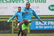 Forest Green Rovers Shamir Mullings(18) warming up during the Vanarama National League match between Forest Green Rovers and Dover Athletic at the New Lawn, Forest Green, United Kingdom on 17 December 2016. Photo by Shane Healey.