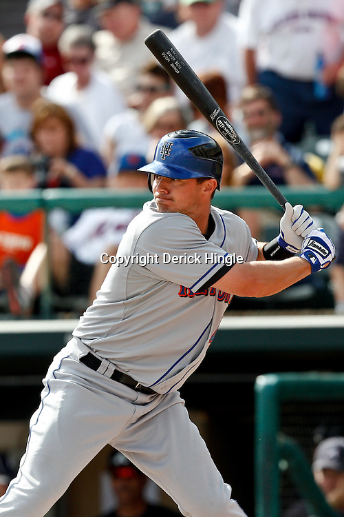March 5, 2011; Lake Buena Vista, FL, USA; New York Mets second baseman Russ Adams (4) during a spring training exhibition game against the Atlanta Braves at Disney Wide World of Sports complex.  Mandatory Credit: Derick E. Hingle