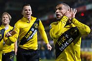 BREDA, NAC Breda - SC Cambuur, voetbal Eredivisie, seizoen 2013-2014, 21-12-2013, Rat Verlegh Stadion, NAC Breda speler Anouar Hadouir (R) heeft de 1-0 gescoord, NAC Breda speler Mats Seuntjens (M) en NAC Breda speler Tim Gilissen (L) zijn blij.