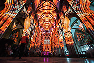 """Lichfield Cathedral, Lichfield, Staffordshire, UK. 16th  August 2018.  Hundreds of invited guests watch as Lichfield Cathedral is spectacularly lit up to commemorate the centenary of the Armistice. """"The Great Exhibition: Imagine Peace"""" is a profound and reflective light and sound installation from the Cathedral's Artist-in-residence Peter Walker, alongside the award winning team Luxmuralis, which is displayed both inside and outside the Staffordshire Cathedral, taking visitors through a series of immersive artworks. Included is the 'Peace Woodland' that creates a labyrinth of exploration as visitors enter The Great Exhibition, walking through 1,918 recently installed trees which envelop the Cathedral grounds throughout the exhibition. The """"Peace Woodland"""", a living artwork (again created by Peter Walker in partnership with Lichfield Cathedral and Lichfield District Council), references the end of WWI, the regrowth of the woodlands of the Somme and the Western Front, and the fact that out of conflict, hope returned. Once through the """"Peace Woodland"""" the journey for spectators continues inside the Cathedral as the interior is transformed through a vivid series of light and sound installations, as nature is seen to grow over the architecture, a projection of 16 million falling leaves - one for every life lost in WW1, the Sistine Chapel recreated on the Cathedral ceiling as it opens to reveal the sky and psychedelic patterns. Mr Walker, who is in his third year of a five year residency with Lichfield Cathedral, is quoted as saying: """"Imagine Peace offers the visitor the opportunity to say goodbye and honour all those who played their part in the Great War, those who lost their lives, and those supporting them on the home front.<br /> Both artistically and emotionally this exhibition is about putting ourselves into the story and taking a moment to think what that means. I want us to walk in the footsteps of the soldiers, I want us to think about peace, I want us"""