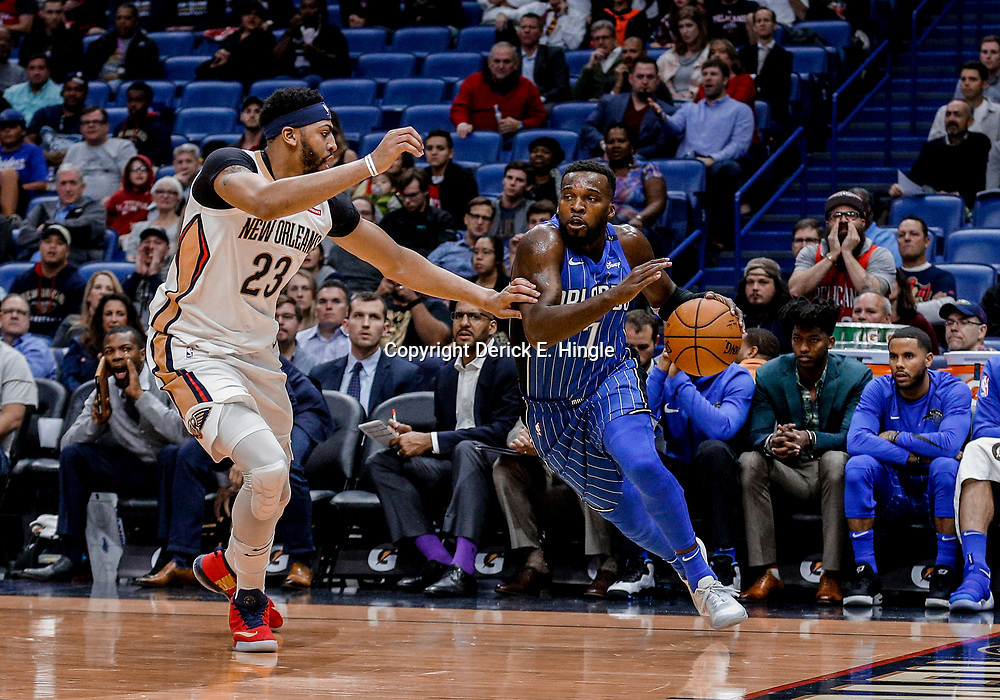 Oct 30, 2017; New Orleans, LA, USA; Orlando Magic guard Shelvin Mack (7) drives past New Orleans Pelicans forward Anthony Davis (23) during the second quarter of a game at the Smoothie King Center. Mandatory Credit: Derick E. Hingle-USA TODAY Sports
