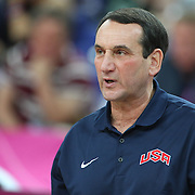 USA coach Michael Krzyzewski during the Men's Basketball Final between USA and Spain at the North Greenwich Arena during the London 2012 Olympic games. London, UK. 12th August 2012. Photo Tim Clayton