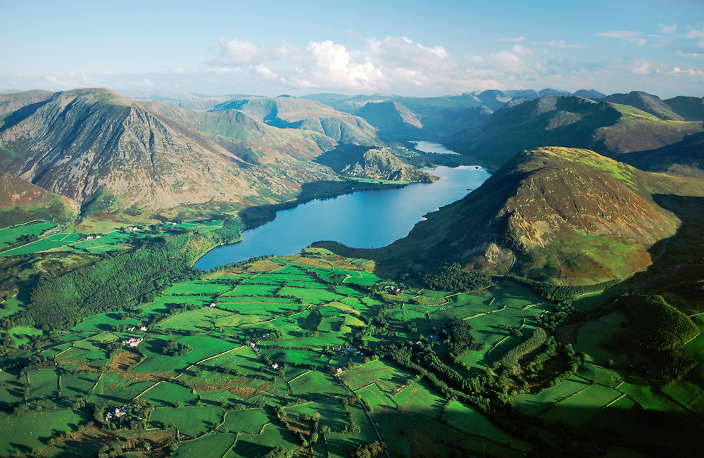 Lake District National Park. View southeast over Crummock Water, Grasmoor, Buttermere to the central fells. Cumbria. England.