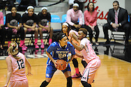 "Kentucky Wildcats forward/center Azia Bishop (50) vs. Mississippi Lady Rebels forward Tia Faleru (32) at the C.M. ""Tad"" Smith Coliseum in Oxford, Miss. on Monday, February 23, 2015. (AP Photo/Oxford Eagle, Bruce Newman)"