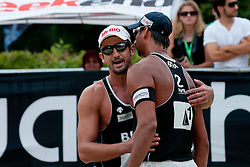 Ricardo Santos and Pedro Cunha (left) of Brasil at A1 Beach Volleyball Grand Slam tournament of Swatch FIVB World Tour 2011, on August 6, 2011 in Klagenfurt, Austria. (Photo by Matic Klansek Velej / Sportida)