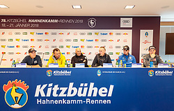 17.01.2018, Pressecenter, Kitzbühel, AUT, FIS Weltcup Ski Alpin, Kitzbuehel, Pressekonferenz, HKR Organisationskomitee, im Bild v.l. Axel Naglich (Streckenchef Stellvertreter), Hannes Trinkl (FIS Renndirektor Weltcup Ski Alpin Herren), Markus Waldner (FIS Chef Renndirektor Weltcup Ski Alpin Herren), Michael Huber (KSC Präsident, Dominik Paris (ITA), Romed Baumann (AUT) // f.l. Axel Naglich (Deputy Chief of Course) Hannes Trinkl Race Director World Cup Men Speed Events of FIS Markus Waldner Chief Race Director World Cup Ski Alpin Men of FIS KSC President Michael Huber Dominik Paris of Italy Romed Baumann of Austria during a press conference of HKR Organizing Comittee prior to the FIS Ski Alpine World Cup at the Pressecenter in Kitzbühel, Austria on 2018/01/17. EXPA Pictures © 2018, PhotoCredit: EXPA/ Johann Groder