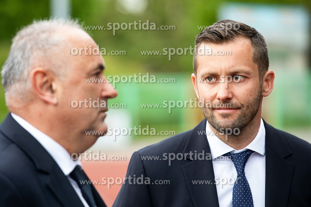 Radenko Mijatovic, president of NZS and Martin Kozelj, secretary general of NZS during celebration of NK Bravo, winning team in 2nd Slovenian Football League in season 2018/19 after they qualified to Prva Liga, on May 26th, 2019, in Stadium ZAK, Ljubljana, Slovenia. Photo by Vid Ponikvar / Sportida