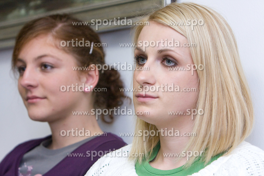 Liona Rebernik and Sabina Veit  when Slovenian athletes and their coaches sign contracts with Athletic federation of Slovenia for year 2009,  in AZS, Ljubljana, Slovenia, on March 2, 2009. (Photo by Vid Ponikvar / Sportida)