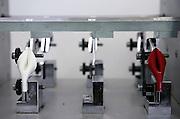 Fiesso, Padova: fabbrica scarpe Louis Vuitton. test per misurare la resistenza dei pellami impiegati nelle calzature. Italy, Padoa, louis vuitton shoe factory.