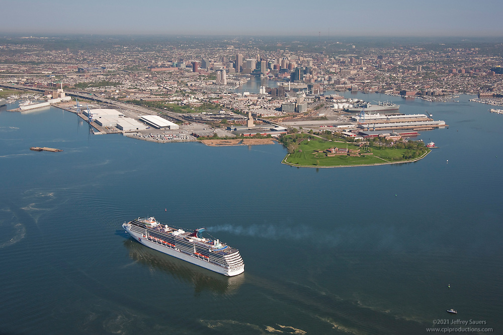 Aerial Image of Carnival Pride Cruise ship approaching Baltimore City and Fort Mchenry