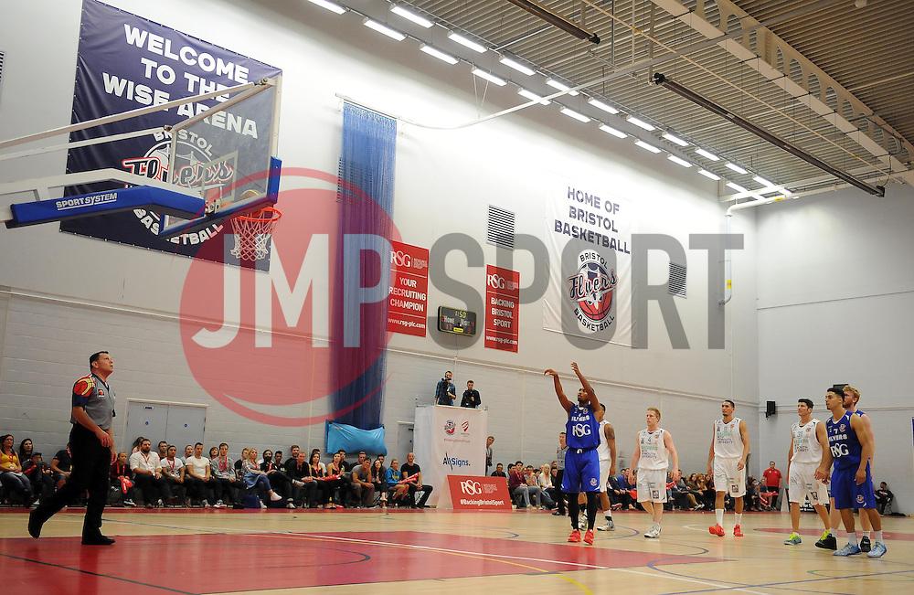 Bristol Academy Flyers' Doug Herring scores a basket  - Photo mandatory by-line: Joe Meredith/JMP - Mobile: 07966 386802 - 27/09/2014 - SPORT - Basketball - Bristol - SGS Wise Campus - Bristol Academy Flyers v Plymouth Uni Raiders - British Basketball League