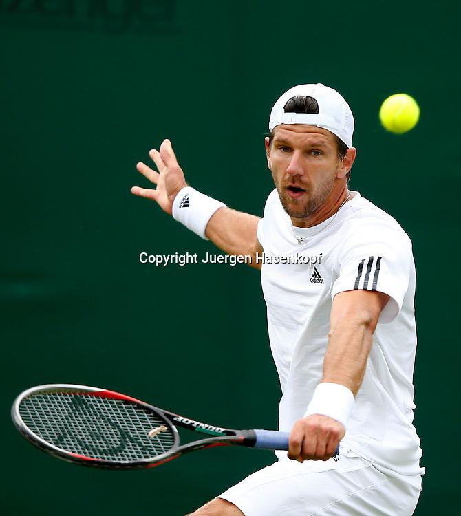 Wimbledon Championships 2013, AELTC,London,<br /> ITF Grand Slam Tennis Tournament, Juergen Melzer (AUT),Aktion,Einzelbild,<br /> Halbkoerper,Hochformat,