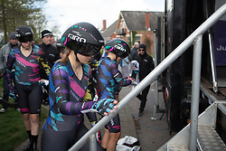 Alexis Ryan (USA) of CANYON//SRAM Racing climbs onto the start ramp before Stage 2 of the Healthy Ageing Tour - a 19.6 km team time trial, starting and finishing in Baflo on April 6, 2017, in Groeningen, Netherlands.