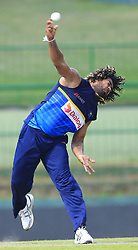 August 23, 2017 - Kandy, Sri Lanka - Sri Lankan cricketer Lasith Malinga delivers a ball during a practice session ahead of the 2nd ODI cricket match between Sri Lanka and India at Pallekele International cricket ground , Kandy, Sri Lanka on Wednesday August 23 2017. (Credit Image: © Tharaka Basnayaka/NurPhoto via ZUMA Press)