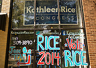 Kathleen Rice's Campaign Field Office is the press conference location where Rice, the Democratic candidate for Congress in New York's 4th Congressional District, was endorsed by NARAL Pro-Choice New York and Planned Parenthood of Nassau County Action Fund, NARAL. The office's front window has Rice 2014 in red white and blue. Rice is in her third term as Nassau County District Attorney, Long Island.