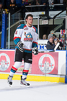 KELOWNA, CANADA - JANUARY 11:  Colton Heffley #25 of the Kelowna Rockets skates on the ice to accept the Dickies player of the game award against the Tri City Americans at the Kelowna Rockets on January 11, 2013 at Prospera Place in Kelowna, British Columbia, Canada (Photo by Marissa Baecker/Shoot the Breeze) *** Local Caption ***