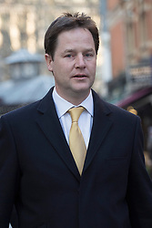 © licensed to London News Pictures. London, UK 17/01/2013. Deputy Prime Minister, Nick Clegg leaving LBC Radio Studio in central London on Thursday January 17, 2013 after the second Call Clegg radio programme. Photo credit: Tolga Akmen/LNP