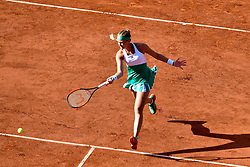 PARIS, June 7, 2017  Kristina Mladenovic of France rerurns the ball during the women's singles quarterfinal against Timea Bacsinszky of Switzerland at the 2017 French Open Tennis Tournament in Paris, France on June 6, 2017. Timea Bacsinszky won 2-0. (Credit Image: © Chen Yichen/Xinhua via ZUMA Wire)