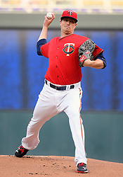 May 18, 2018 - Minneapolis, MN, U.S. - MINNEAPOLIS, MN - MAY 18: Minnesota Twins Starting pitcher Kyle Gibson (44) delivers a pitch during a MLB game between the Minnesota Twins and Milwaukee Brewers on May 18, 2018 at Target Field in Minneapolis, MN. The Brewers defeated the Twins 8-3.(Photo by Nick Wosika/Icon Sportswire) (Credit Image: © Nick Wosika/Icon SMI via ZUMA Press)