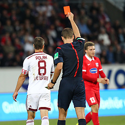 24.09.2014, Voith Arena, Heidenheim, GER, 2. FBL, 1. FC Heidenheim vs 1. FC Nuernberg, 7. Runde, im Bild Links Jan Polak ( 1.FC Nuernberg ) rechts Schiedsrichter Rene Rohde zeigt die Gelb Rote Karte // during the 2nd German Bundesliga 7th round match between 1. FC Heidenheim and 1. FC Nuernberg at the Voith Arena in Heidenheim, Germany on 2014/09/24. EXPA Pictures © 2014, PhotoCredit: EXPA/ Eibner-Pressefoto/ Langer<br /> <br /> *****ATTENTION - OUT of GER*****