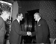 27/05/1959<br /> 05/27/1959<br /> 27 May 1959<br /> Ratification of Irish-Belgian Air Agreement at Iveagh House, Dublin. An Air Transport Agreement between Ireland and Belgium which was signed in 1955 was formally signed and exchanged by Mr Frank Aiken, Minister for External Affairs and the Belgian Ambassador, His Excellency Count Antoine de Laubespin.