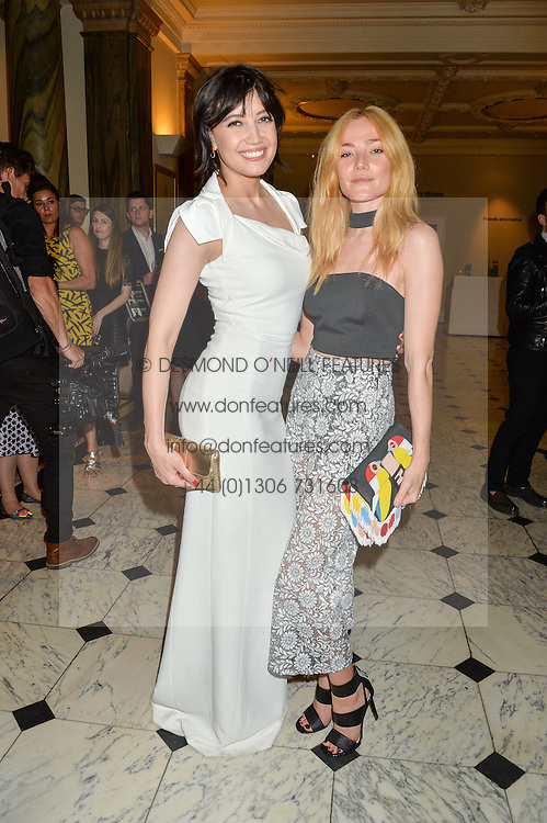 Left to right, DAISY LOWE and CLARA PAGET at the Royal Academy of Arts Summer Exhibition Preview Party at The Royal Academy of Arts, Burlington House, Piccadilly, London on 7th June 2016.