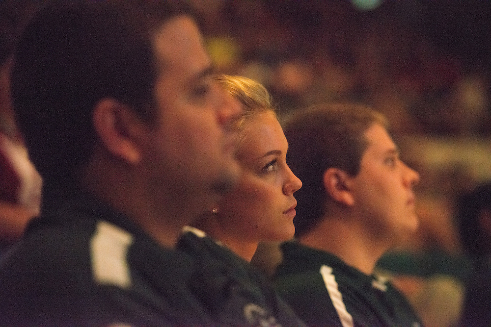 Ohio University Student Trustee Amanda Roden listens to President McDavis speack at the First Year Student Convocation. Photo by Ben Siegel
