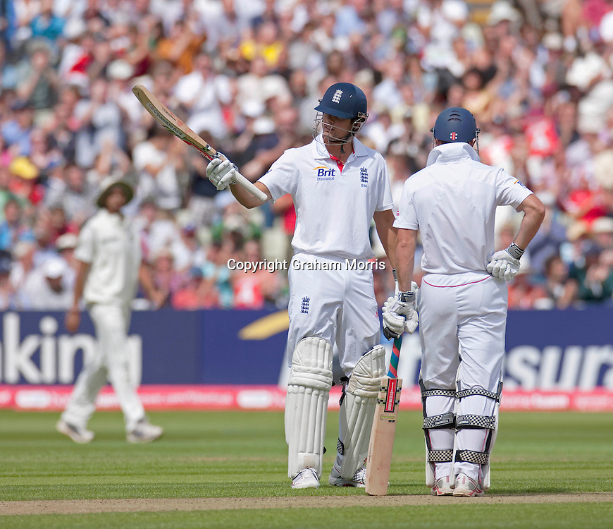 Alastair Cook celebrates his half-century during the third npower Test Match between England and India at Edgbaston, Birmingham.  Photo: Graham Morris (Tel: +44(0)20 8969 4192 Email: sales@cricketpix.com) 11/08/11
