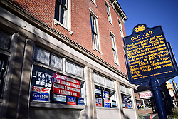 This campaign office of the Democratic party in the center of Lancaster, PA., is located at the site of the old Jail, a plaque outside explains. The Keystone state is considered a mayor battleground in the 2016 US General Elections.