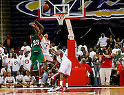 Florida A&M's Brian Green hits this buzzer-beater to win the 2007 MEAC Basketball Tournament over Delaware State at the RBC Center in Raleigh, North Carolina.  March 10, 2007  (Photo by Mark W. Sutton)