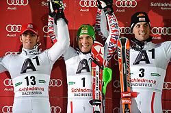 24.01.2012, Planai, Schladming, AUT, FIS Weltcup Ski Alpin, Herren, Slalom 2. Durchgang, im Bild Stefano Gross (ITA), Marcel Hirscher (AUT), Mario Matt (AUT) // Stefano Gross of Italy, Marcel Hirscher of Austria, Mario Matt of Austria after the second run of the FIS Alpine Skiing World Cup mens slalom race, Schladming, Austria on 2012/01/24. EXPA Pictures © 2012, PhotoCredit: EXPA/ Sandro Zangrando