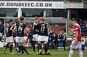 5th May 2018, Dens Park, Dundee, Scotland; Scottish Premier League football, Dundee versus Hamilton Academical; Kevin Holt of Dundee is congratulated after scoring by Simon Murray