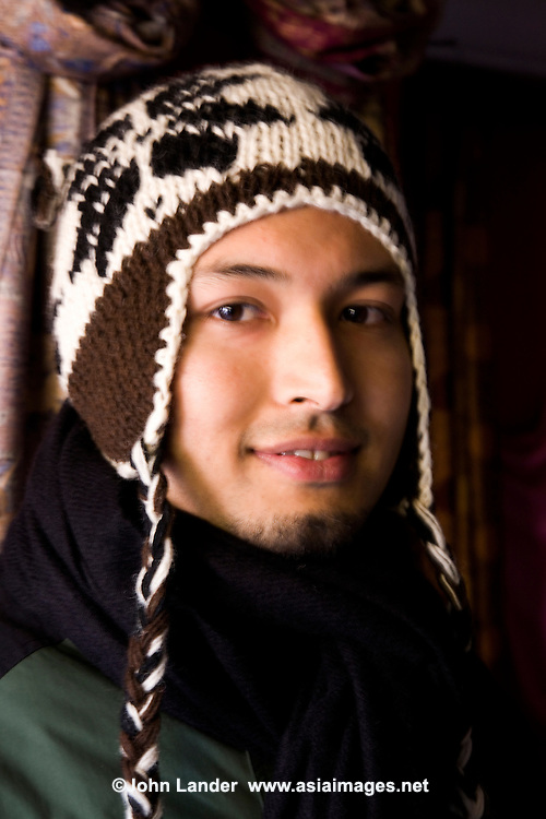 Nepalese Man in a Sherpa Hat  - The population of Nepal is made up of diverse ethnic groups lncluding the Newar, Sherpa, Thakali, Tamangs, Tibetans and the Gurung.  Nepal is meeting place of Indo-Aryan peoples from the Indian subcontinent as well as the Mongoloid people of the Himalaya regions.