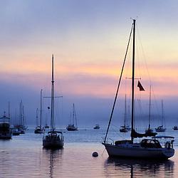 Castine harbor at dawn.  Castine, Maine.