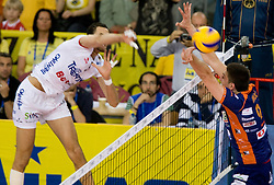 Osmany Juantorena Portuondo of Trentino vs Dejan Vincic of ACH at 2nd Semifinal match of CEV Indesit Champions League FINAL FOUR tournament between ACH Volley, Bled, SLO and Trentino BetClic Volley, ITA, on May 1, 2010, at Arena Atlas, Lodz, Poland. Trentino defeated ACH 3-1. (Photo by Vid Ponikvar / Sportida)