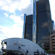 Red Bull Air Race Detroit High Flyer's Lounge<br /> Red Bull Air Race Detroit High Flyer's Lounge with the Renaissance Center in the background.