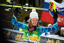 SWENN LARSSON Anna of Sweden reacts after placed second during Trophy ceremony after the 6th Ladies' Slalom at 55th Golden Fox - Maribor of Audi FIS Ski World Cup 2018/19, on February 2, 2019 in Pohorje, Maribor, Slovenia. Photo by Blaž Weindorfer / Sportida